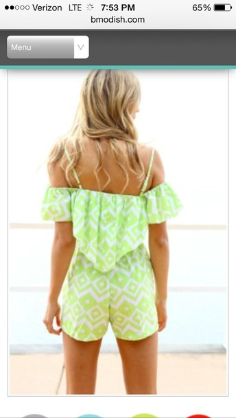 romper green white