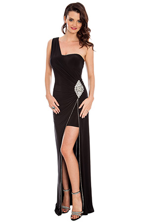 One Shoulder Diamante Trim Jersey Maxi