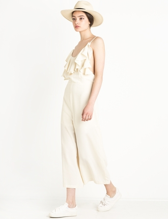jumpsuit ruffle pants clothes culottes white jumpsuit
