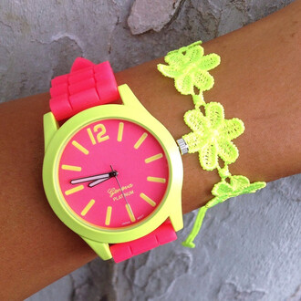 yellow jewels glow neon bright silicone bracelets stack bright colored hot pink jewelry