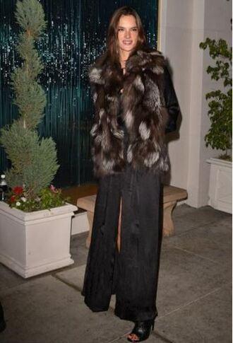 dress slit dress fur fur coat fur jacket alessandra ambrosio booties shoes