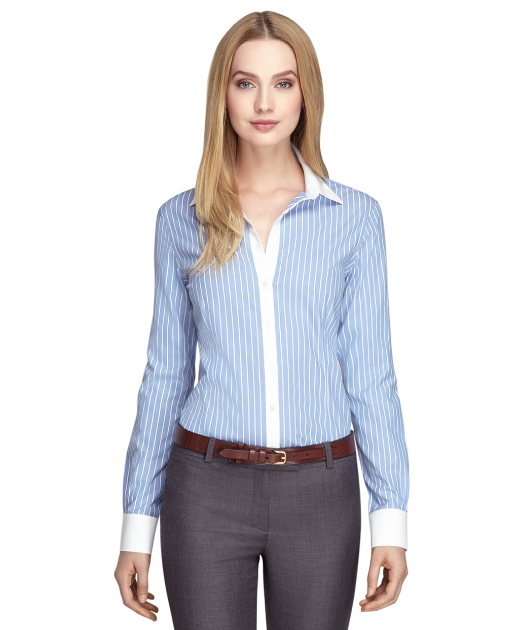 Non Iron Tailored Fit Wide Stripe Dress Shirt Brooks