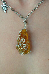 jewels,orange,orange necklace,orange calcite,calcite,stone,gemstone,mineral,handmade,jewelry,necklace,leaves,nature,earth,fantasy,hippie,festival,indie,grunge,alternative,boho,boho chic,fairy,Wire Wrapped,wire wrap