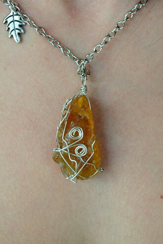 jewels orange orange necklace orange calcite calcite stone gemstone mineral handmade necklace leaf nature earth fantasy hippie festival indie grunge alternative boho boho chic fairy wire wrapped wire wrap