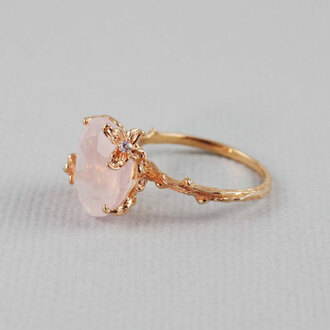 jewels ring gold ring gold and pink