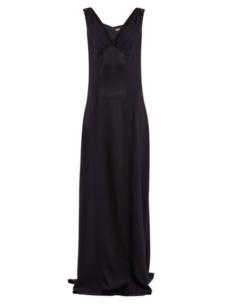 Bottega Veneta gown embellished satin navy dress