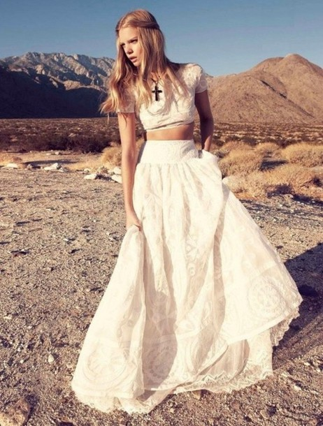 skirt top emilio pucci long lace skirt dress hippie white two piece dress set