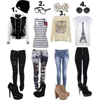 pants jacket top shirt glasses sunglasses shoes high heels blouse jeans black jeans stripes sweater hat bows cute clothes back to school fashion band t-shirt tank top t-shirt paris tee ripped jeans booties shoes platform high heels acid wash jeans bag cute outfits bleached jeans with  ripss leggings hair bow black and white tumblr swag teenagers tiger striped top
