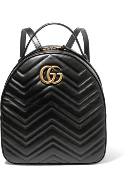 gucci quilted backpack leather backpack leather black bag