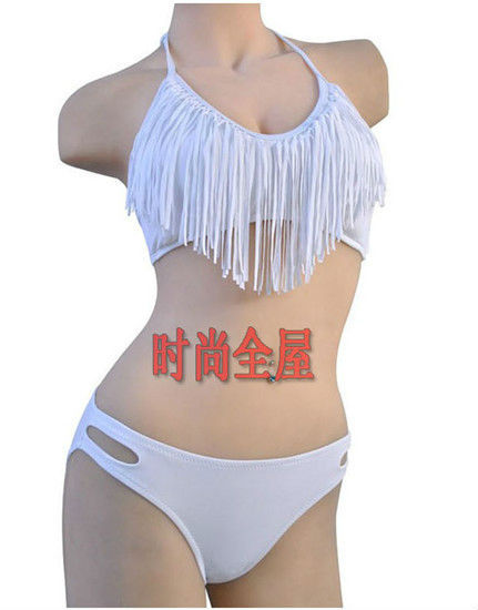 2013 Summer Padded Boho V Neck Fringe Tassel Bikini Swimsuit Women Swim Wear Sexy Bathing Suit Swimwear 6 Colors SML #P049-in Bikinis Set from Apparel & Accessories on Aliexpress.com