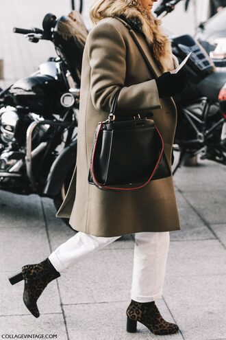 coat tumblr green coat fashion week 2017 streetstyle bag black bag gloves fur scarf scarf jeans white jeans boots high heels boots printed boots winter outfits winter coat winter look