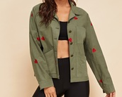 jacket,girly,girl,girly wishlist,button up,army green,army green jacket,heart,embroidered,cute,red