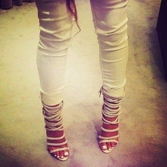 shoes strappy heels high heels
