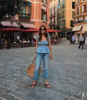 top,lace top,jeans,cropped jeans,slide shoes,handbag,round bag,sunglasses