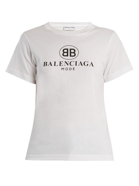 Balenciaga t-shirt shirt cotton t-shirt t-shirt cotton print white top