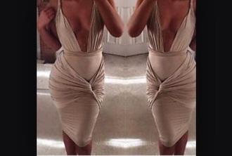 dress bandage dress bodycon dress nude dress cream dress deep v neck dress plunge dress