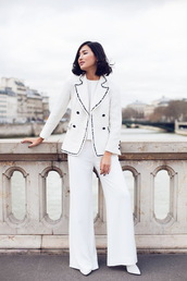 pants,power suit,womens suit,white pants,wide-leg pants,blazer,white blouse,top,white top,white blazer,shoes,white shoes,blogger,streetstyle,gary pepper vintage,top blogger lifestyle,all white everything,all white outfit,two piece pantsuits,matching set