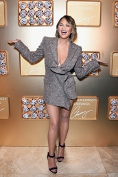 shoes,chrissy teigen,model off-duty,glitter,blazer,celebrity,plunge dress