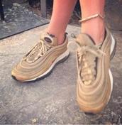 shoes,Air max 97,air max,nike sneakers,gold sneakers,low top sneakers,nike