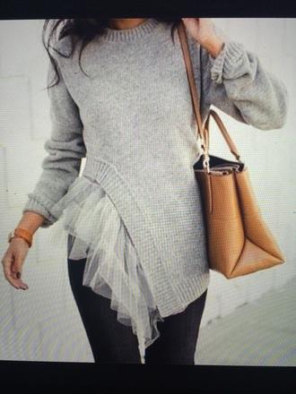 sweater tulle sweater grey sweater