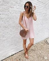 dress,tumblr,mini dress,slip dress,pink dress,sandals,flat sandals,bag,round bag,sunglasses,shoes
