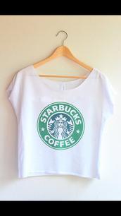 t-shirt,shirt,starbucks coffee,top,white,coffee,tank top,crop,crop tops,Half Top,tumblr