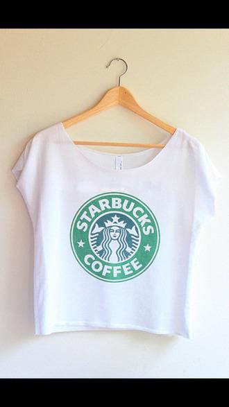 t-shirt shirt starbucks coffee top white coffee tank top crop crop tops half top tumblr