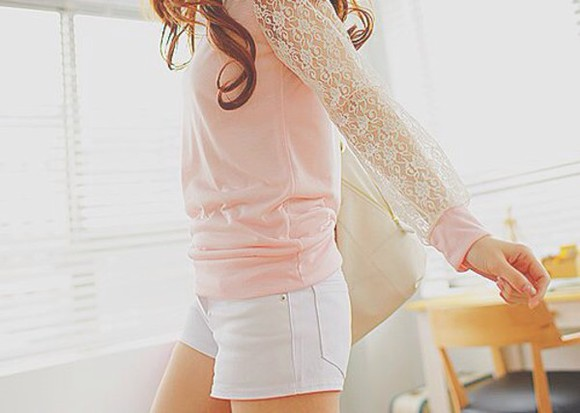 long sleeves blouse pink kfashion ulzzang