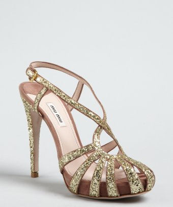 a2b8498dde4b Miu Miu mauve suede gold glitter covered strappy platform sandals | BLUEFLY  up to 70% ...