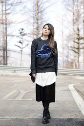 brown platform,blogger,oversized sweater,charcoal,kenzo,sweater,dress,shirt,bag,shoes