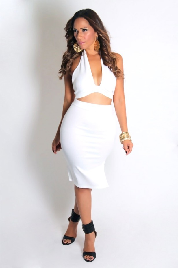 Neck halter crop top and high waisted skirt set in white