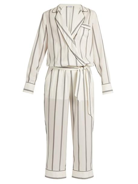 BRUNELLO CUCINELLI jumpsuit embellished silk white