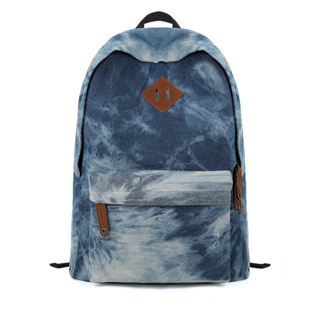 Amazon.com: zlyc denim dye backpack canvas backpack school bag: sports & outdoors