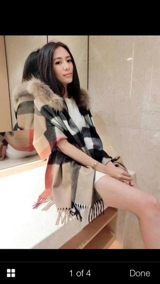 burberry coat cape fur