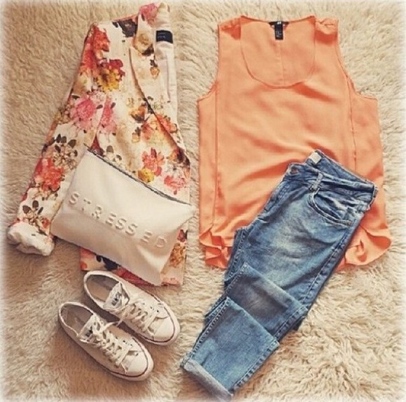 scarf cardigan blouse coral floral cardigan love top jeans jacket
