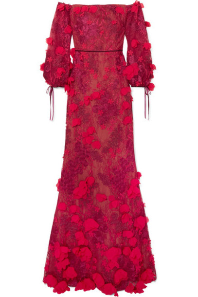 gown embroidered red dress