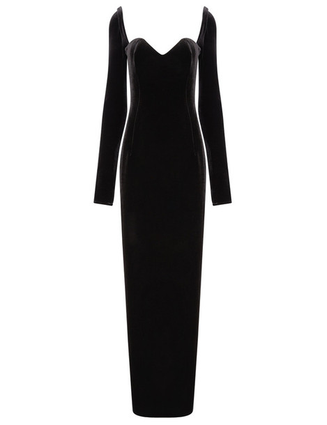dress long black velvet