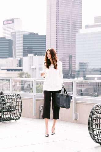 themilleraffect blogger sweater dress pants shoes bag jewels make-up white sweater cropped pants handbag black bag white cable knit sweater