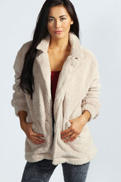 Oversized Fleece Jacket at boohoo.com