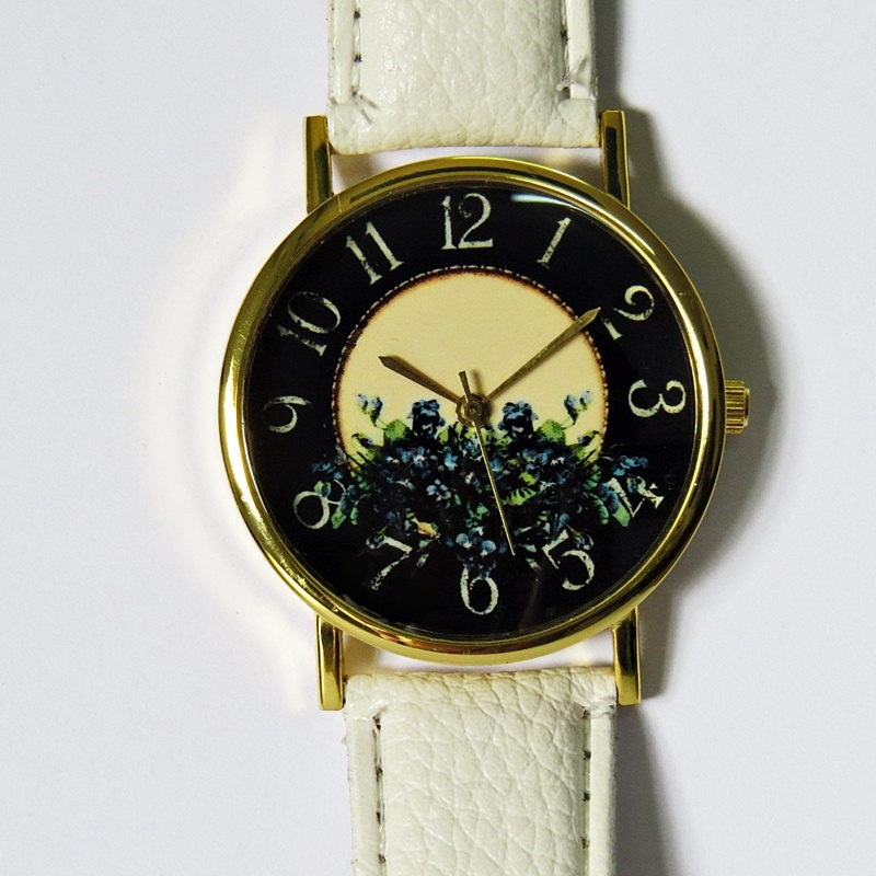 SALE! Floral Watch , Vintage Style Leather Watch, Women Watches, Blue flowers, Boyfriend Watch,