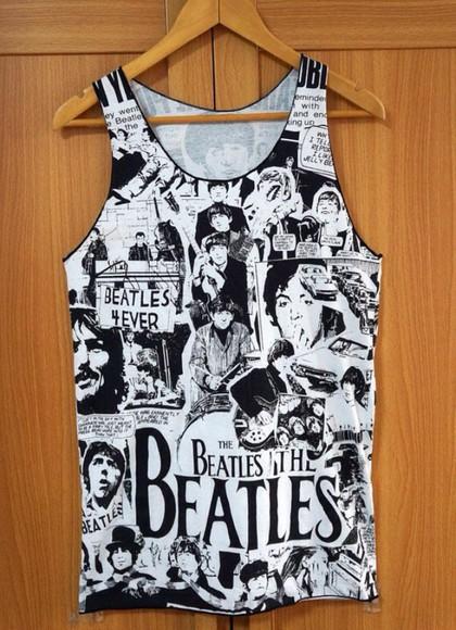 tank top the beatles tank top vest the beatles shirt the beatles vest top