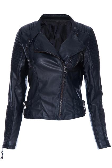 ROMWE | Black Long Sleeve Zipper PU Leather Jacket, The Latest Street Fashion