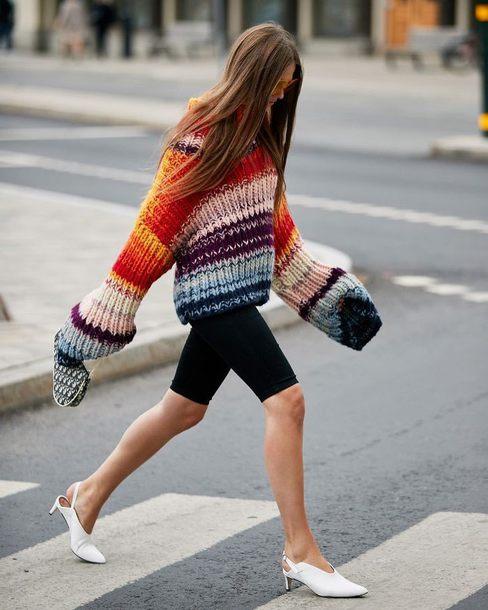 shorts sports shorts slingbacks white shoes oversized sweater