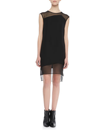 Parker Ziyan Chiffon-Panel Shift Dress - Neiman Marcus