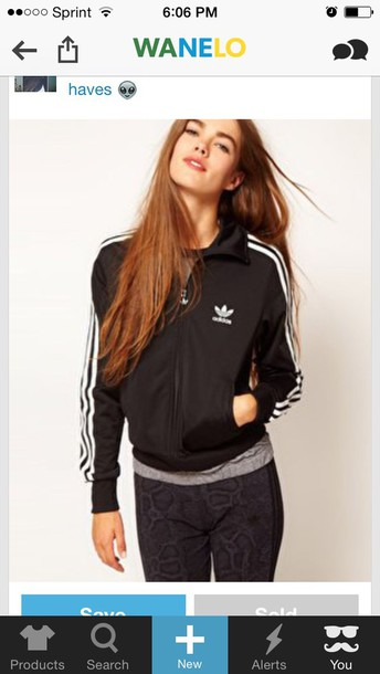 Jacket Adidas Tumblr Outfit Black Cute Stripes Tracksuit - Wheretoget