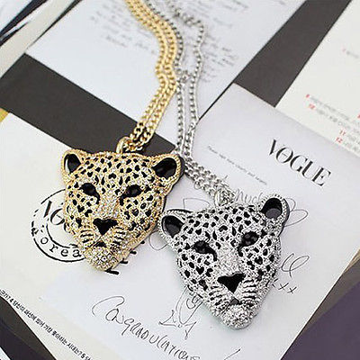Women's Ladies Rhinestone Leopard Tiger Head Fashion Necklace Sweater Chain | eBay