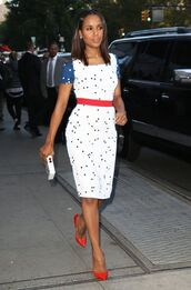 dress,kerry washington,shoes,red shoes,midi dress,white dress,polka dots,high heel pumps,celebrity style,celebrity,red heels,date outfit