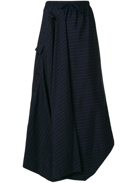 Bernhard Willhelm skirt long skirt long women cotton blue wool