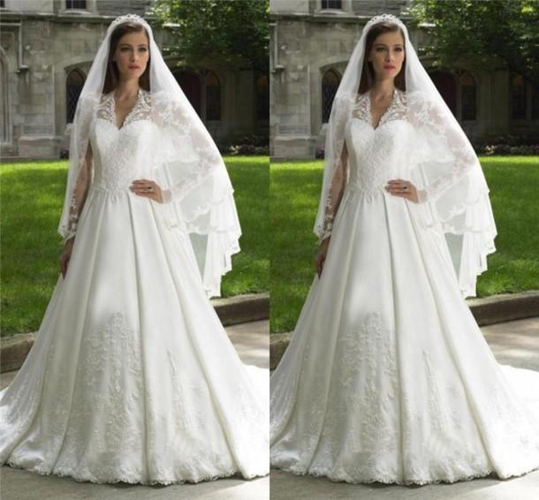 Dress, Long Sleeve Wedding Dress, Vintage Lace Wedding