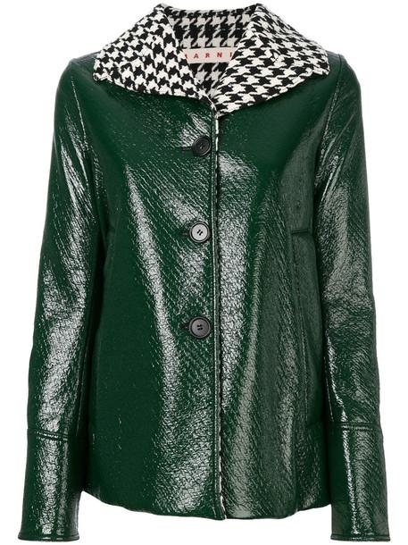 MARNI jacket women wool green houndstooth